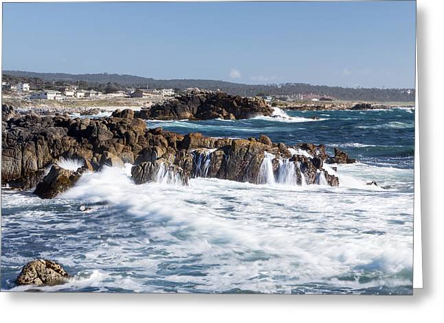 Pacfic Ocean Greeting Cards - Waves Crash Ashore at Pacific Grove Greeting Card by Ken Wolter