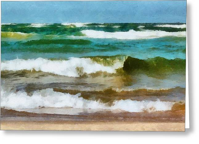 White Caps Greeting Cards - Waves Crash Greeting Card by Michelle Calkins