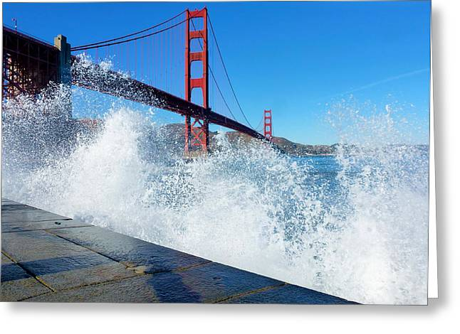 Points Pyrography Greeting Cards - Waves Crash Over Golden Gate Greeting Card by Fabien White