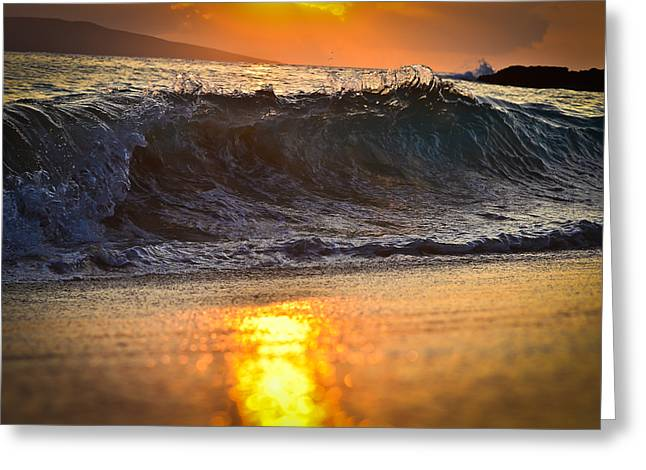 Seascape Images Greeting Cards - Waves Crashes during Sunset Greeting Card by Puget  Exposure