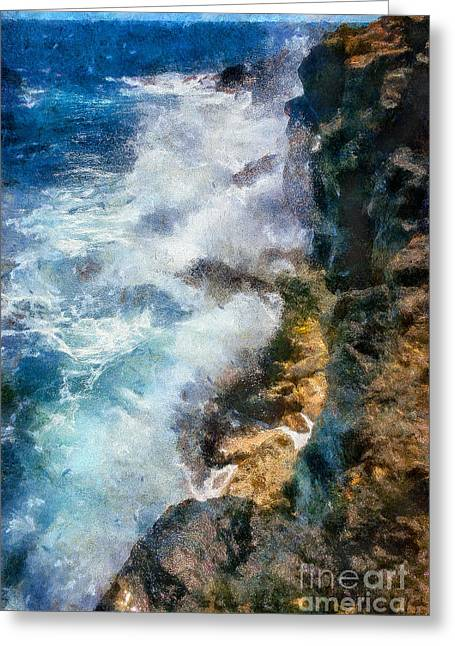Ocean Landscape Greeting Cards - Waves Crashing #1 Greeting Card by Bill Piacesi