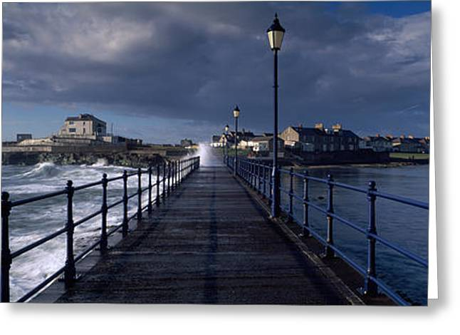 Diminishing Perspective Greeting Cards - Waves Crashing Against A Jetty, Amble Greeting Card by Panoramic Images