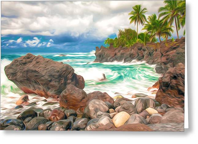 Surf Silhouette Paintings Greeting Cards - Waves crashing along lava rocks on tropical island Greeting Card by Lanjee Chee
