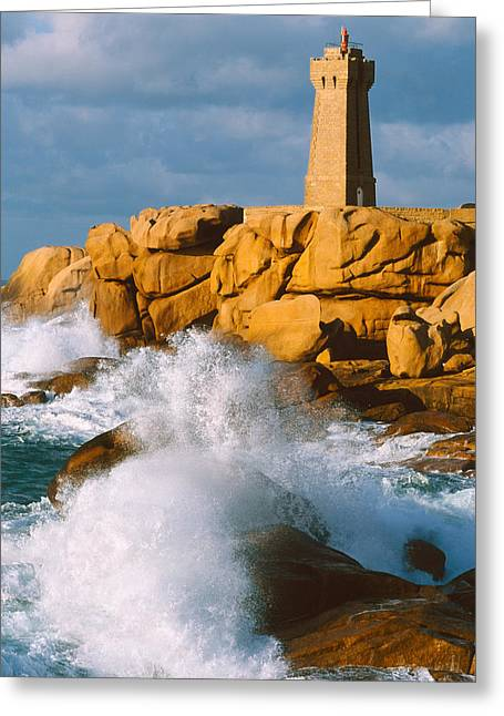 Clouds In Motion Greeting Cards - Waves Crashing At Ploumanach Greeting Card by Panoramic Images