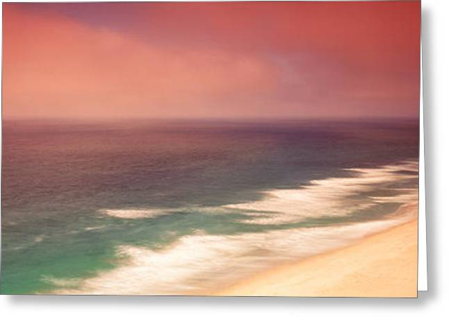 Raining Greeting Cards - Waves Crashing Into Stormy Coast, San Greeting Card by Panoramic Images
