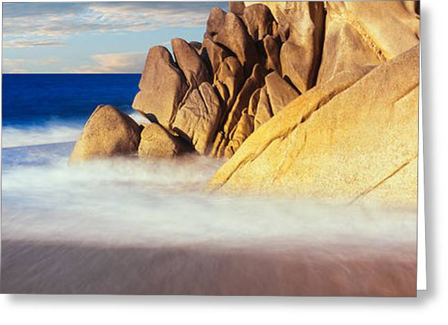 Baja California Sur Greeting Cards - Waves Crashing On Boulders, Lands End Greeting Card by Panoramic Images