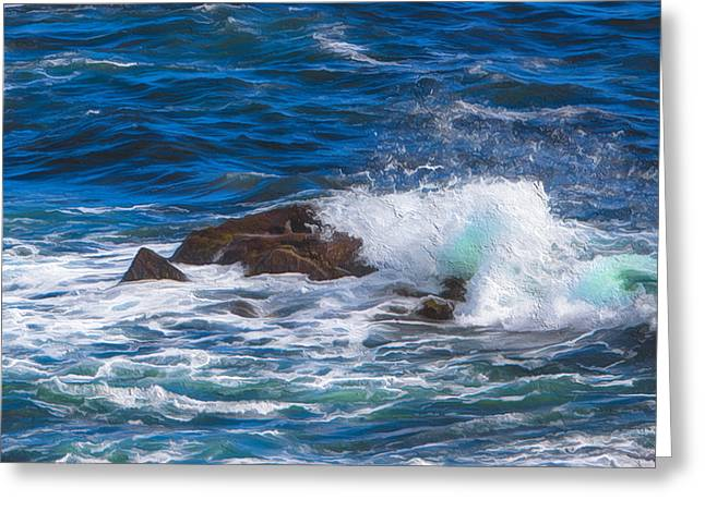 Persuade Greeting Cards - Waves crashing on rocks Greeting Card by Patsy Zedar