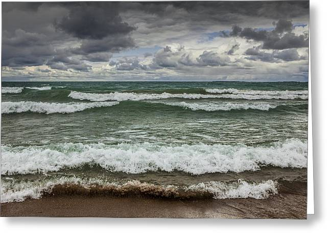 Sturgeon Greeting Cards - Waves crashing on the shore in Sturgeon Bay at Wilderness State Park Greeting Card by Randall Nyhof