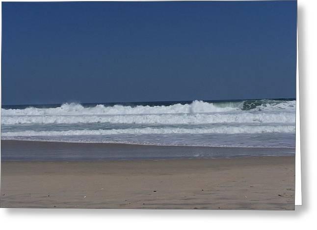 Rodanthe Greeting Cards - Waves crashing onto the beach Greeting Card by Angela  Prandini