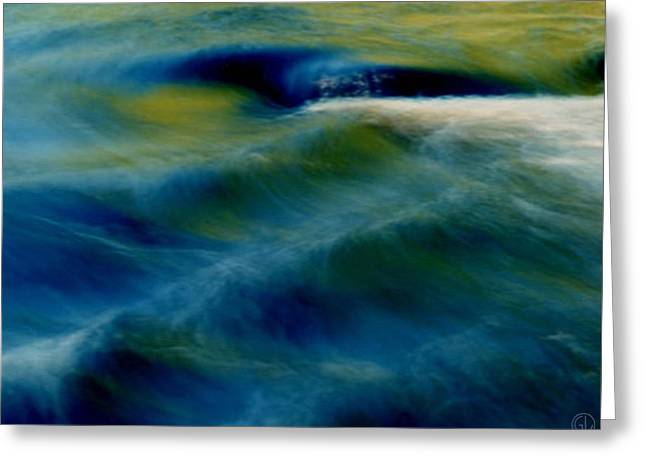Blue Green Wave Digital Greeting Cards - Waves Greeting Card by Gun Legler