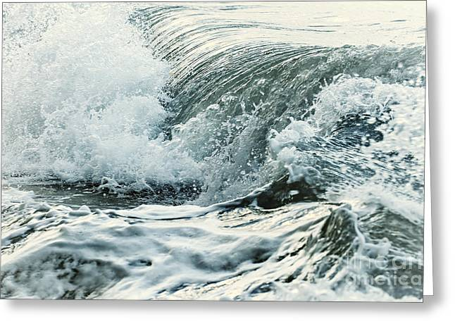 Surf Greeting Cards - Waves in stormy ocean Greeting Card by Elena Elisseeva