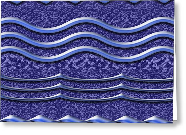 Installation Art Greeting Cards - Waves in Textured Violet Greeting Card by Tina M Wenger