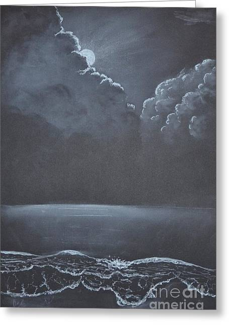 Moon Beach Drawings Greeting Cards - Waves in the Moonlight Greeting Card by David Swope