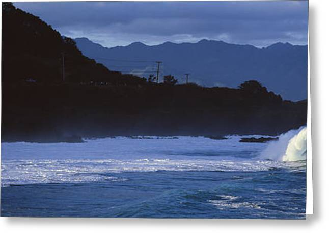 Ocean Photography Greeting Cards - Waves In The Pacific Ocean, Waimea Greeting Card by Panoramic Images