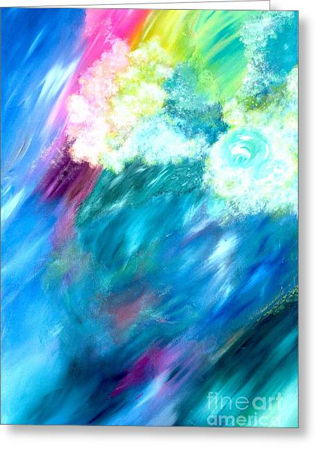 Wind Surfing Art Paintings Greeting Cards - Waves Greeting Card by Jason Stephen