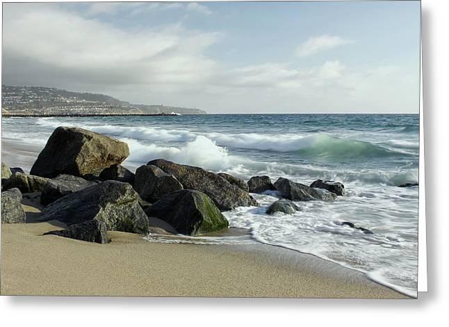 Surf City Greeting Cards - Waves - Manhattan Beach Greeting Card by Kim Hojnacki