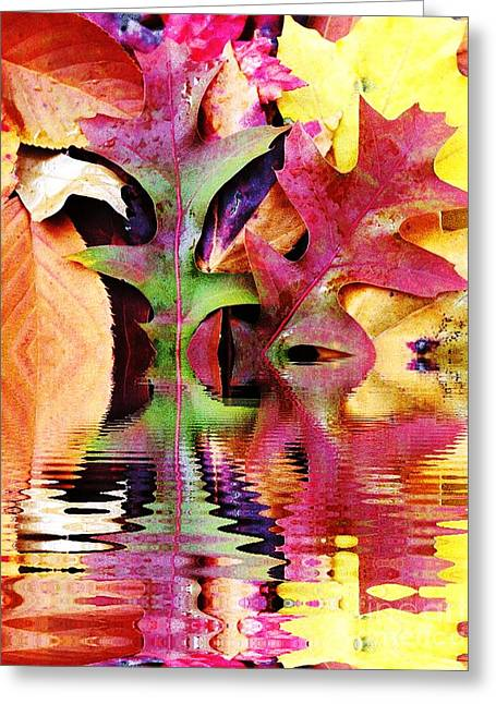 Abstract Water And Fall Leaves Greeting Cards - Waves of Color Greeting Card by Judy Palkimas