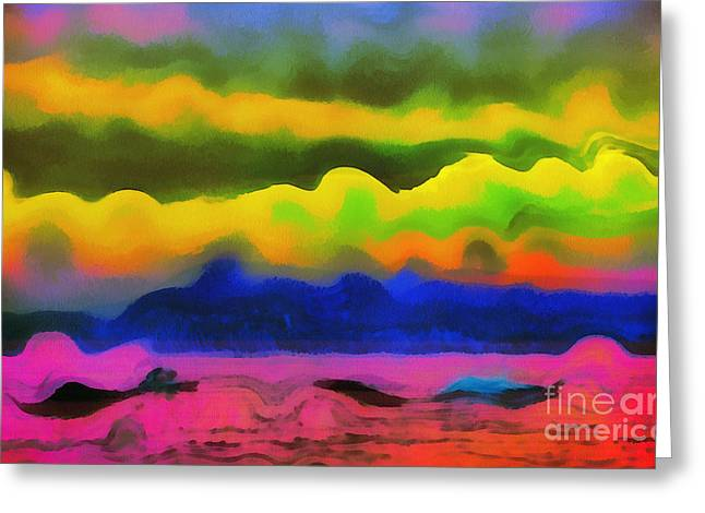 Images Lightning Paintings Greeting Cards - Waves of colors Greeting Card by Odon Czintos