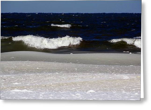 Harbor Sesuit Harbor Greeting Cards - Waves of Ice Greeting Card by Dianne Cowen