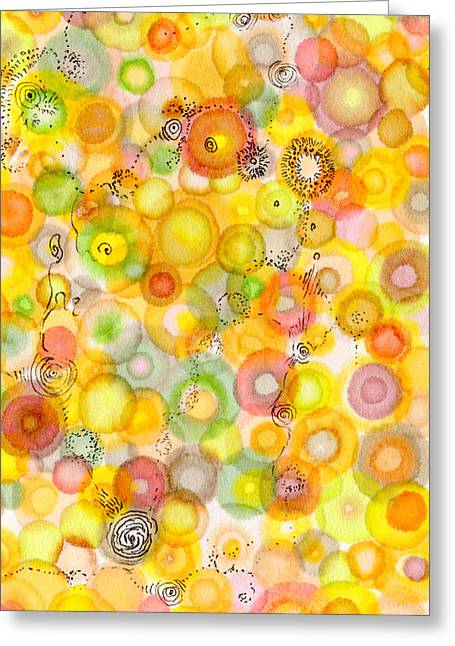 Disk Drawings Greeting Cards - Waves of Juicy Greeting Card by Regina Valluzzi