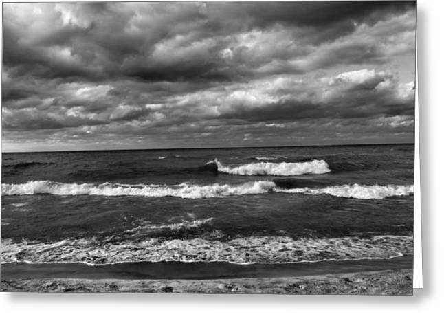 Beach Sand Birds Flying Clouds Sun Sky Trees Grass Building Day Beautiful Wings Flock Greeting Cards - Waves of Lake Michigan Greeting Card by Paul Szakacs