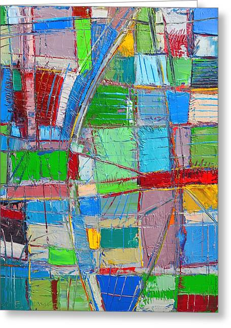 Waves Of Spirit - Abstract Original Oil Painting Greeting Card by Ana Maria Edulescu