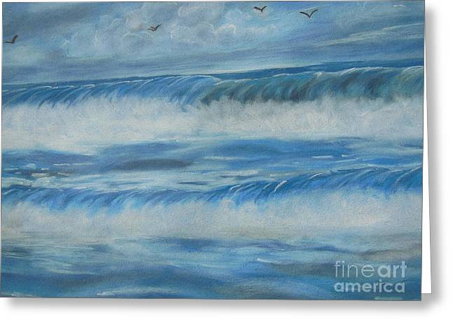 Flying Bird Pastels Greeting Cards - Waves of Strength Greeting Card by Nicole Poston