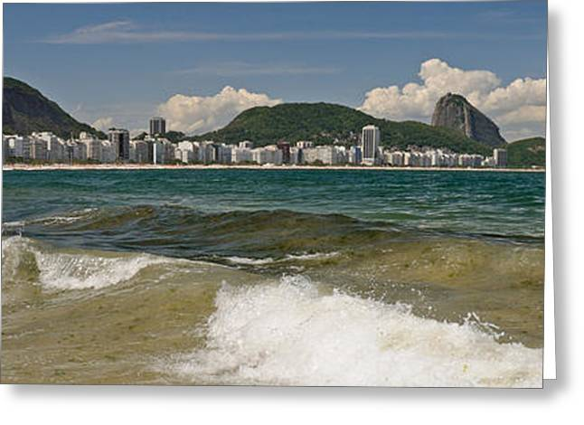 Surf City Greeting Cards - Waves On Copacabana Beach Greeting Card by Panoramic Images