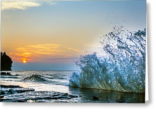 Rochester Skyline Greeting Cards - Waves on Lake Ontario  Greeting Card by Tim Buisman
