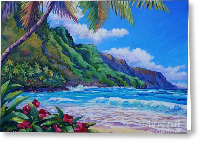 North Shore Paintings Greeting Cards - Waves on Na Pali Shore Greeting Card by John Clark