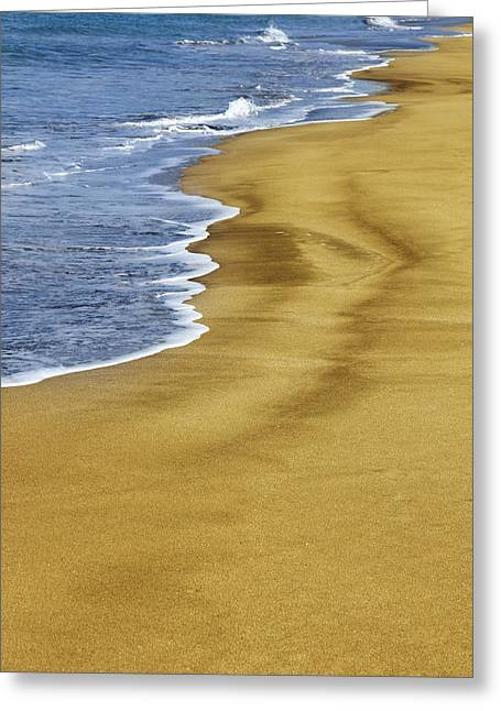 Water Photographs Greeting Cards - Waves on sand Greeting Card by Les Cunliffe