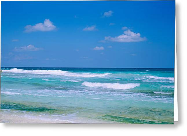 Cancun Greeting Cards - Waves On The Beach, Cancun, Quintana Greeting Card by Panoramic Images
