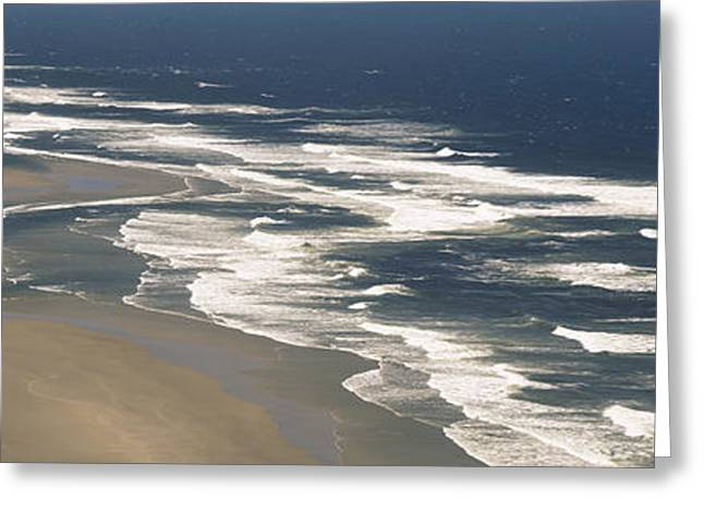 Sand Patterns Greeting Cards - Waves On The Beach, Florence, Lane Greeting Card by Panoramic Images