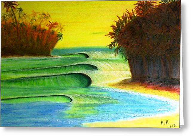 Waves Pastels Greeting Cards - Waves on the Beach Greeting Card by Ray Ratzlaff