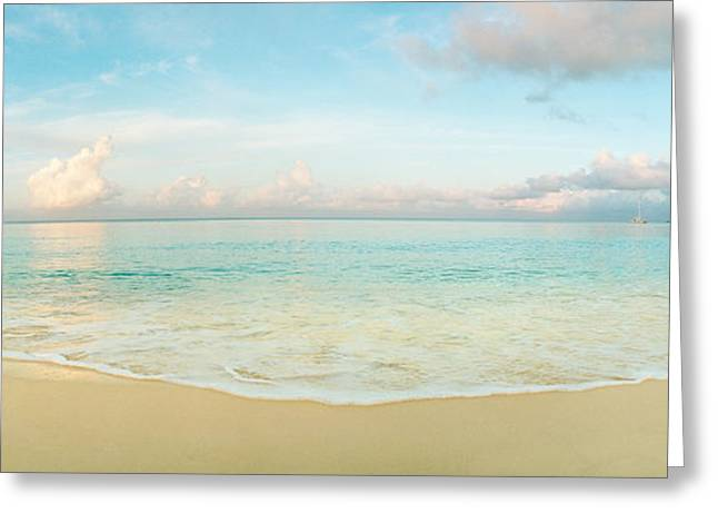 West Indies Greeting Cards - Waves On The Beach, Seven Mile Beach Greeting Card by Panoramic Images