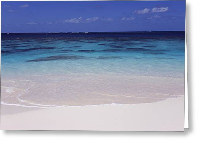 West Indies Greeting Cards - Waves On The Beach, Shoal Bay Beach Greeting Card by Panoramic Images