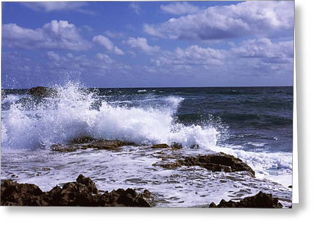 Wave Breaking Greeting Cards - Waves On The Coast, Cozumel, Mexico Greeting Card by Panoramic Images