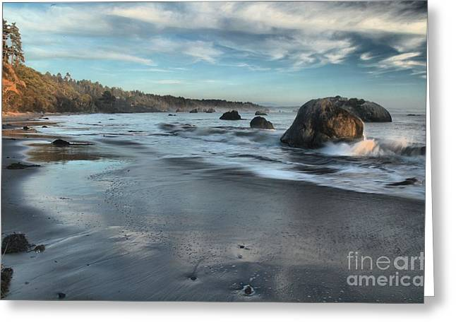 Waves On The Rocks Greeting Card by Adam Jewell