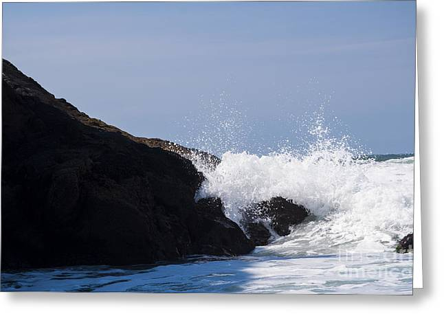 Newport Greeting Cards - Waves on the Rocks Greeting Card by Mandy Judson