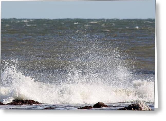 Exciting Surf Greeting Cards - Waves Pounding the Montauk Surf Greeting Card by John Telfer