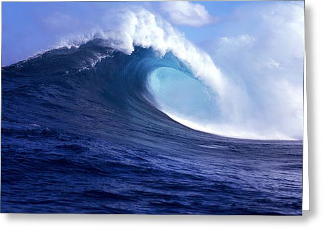 Panoramic Photography Greeting Cards - Waves Splashing In The Sea, Maui Greeting Card by Panoramic Images