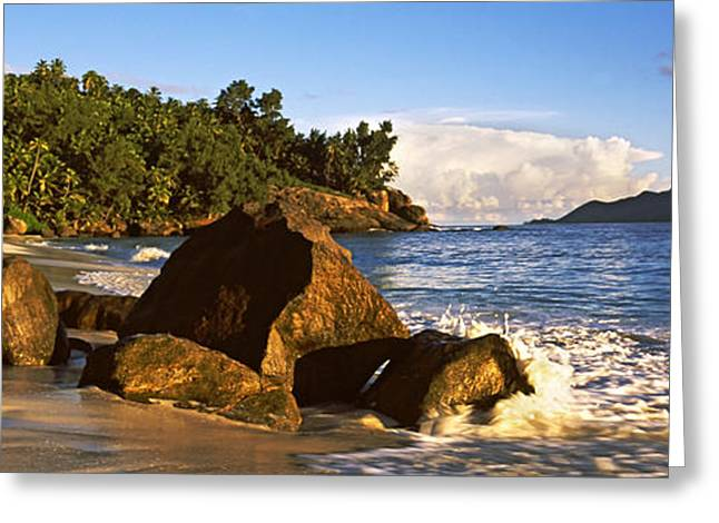 Panoramic Ocean Greeting Cards - Waves Splashing Onto Rocks On North Greeting Card by Panoramic Images