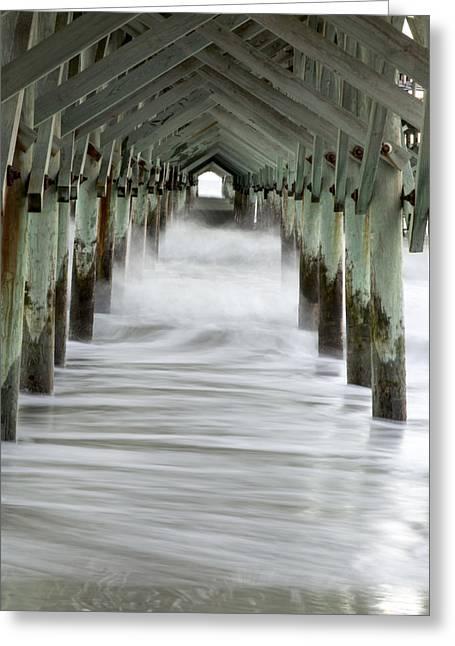 Myrtle Greeting Cards - Waves under the Pier Greeting Card by Nian Chen