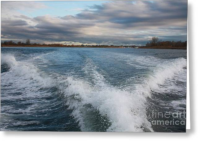 White Photographs Greeting Cards - Waves Wake and the Ocean Greeting Card by John Telfer