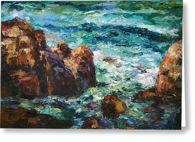 Pallet Knife Greeting Cards - Waves Greeting Card by Yuxiao Du