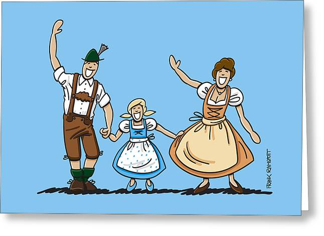 Vector Greeting Cards - Waving Bavarian Couple With Daughter Greeting Card by Frank Ramspott