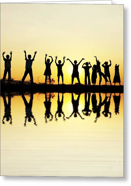 Tim Photographs Greeting Cards - Waving children Greeting Card by Tim Gainey