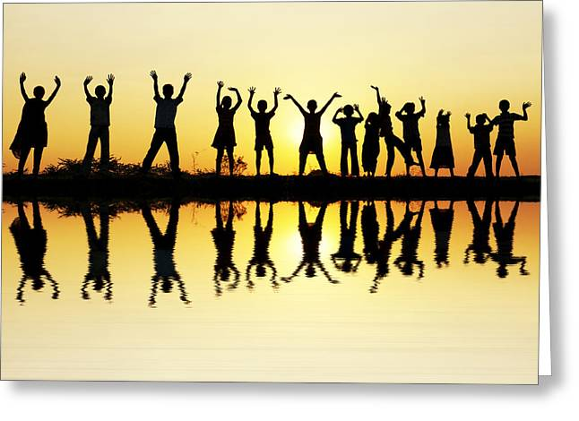 Reflecting Water Greeting Cards - Waving children Greeting Card by Tim Gainey
