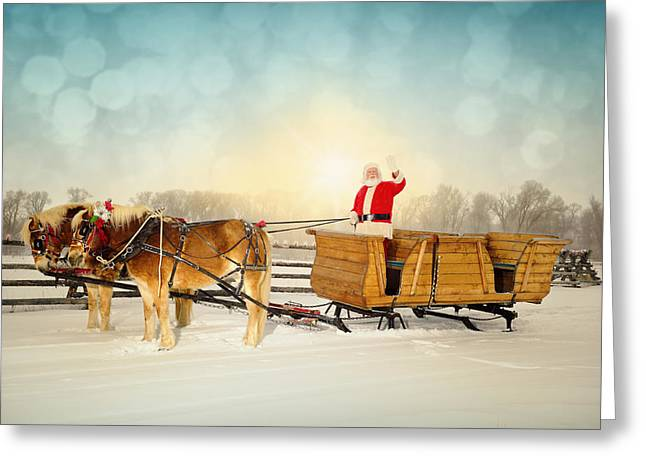 Sled.fence Greeting Cards - Waving Santa With Sleigh and Team of Horses Greeting Card by Kriss Russell