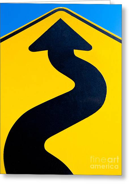 Tortuous Greeting Cards - Wavy arrow concept of winding road to success Greeting Card by Stephan Pietzko